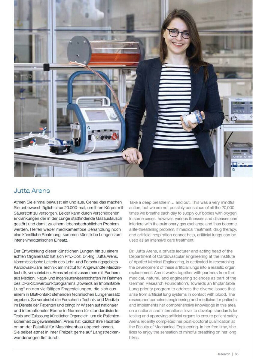 Report on Jutta Arens in the annual RWTH report 2018